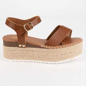 SODA High Ankle Strap Womens Tan Flatform Sandals